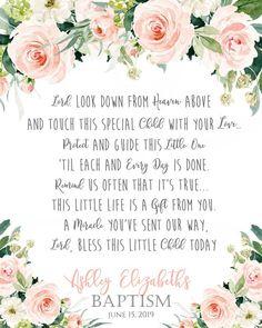 Baptism Prayer, Baptism Poem, Baptism Sign, Baptism, Flower, floral, Christening, Dedication, First Baptism Gifts For Girls, Inspirational Poems, First Event, Prayer Board, Party Needs, Color Change, Prayers, Journey, Invitations