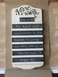 Verse of the Week Chalkboard hymn holder style  scripture