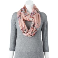 Croft & Barrow Floral Bird Chiffon Infinity Scarf, Size: One Size... ($11) ❤ liked on Polyvore