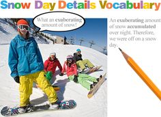 Snow Day Details vocabulary activity, grades 1–8. Students write what they would do on a snow day using their vocabulary words!