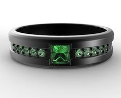 Princess Cut Emerald Black Gold Wedding Band For by Vidarjewelry