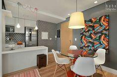 Via Bohn Fotografias! Small Apartments, Small Spaces, Dinner Room, Retro Renovation, Condo Living, Dining Room Design, Lofts, Interiores Design, Decoration