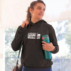 High-quality drawstring hoodie with kangaroo pockets and a front print. Moving Forward, Adidas Jacket, Rain Jacket, Windbreaker, Hoodies, Jackets, Collection, Black, Women