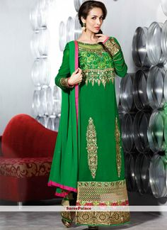 Malaika Arora Khan Style Green Georgette Pakistani Style Suit