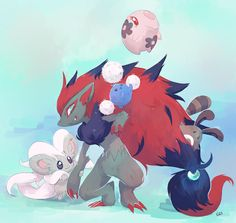 [Day 27 and 28] Zoroark and Cinccino by PinkGermy.deviantart.com on @deviantART
