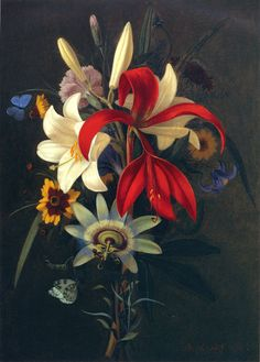 Still Life with Lilies and other Flowers (1828)   Carl Adolph Senff, German (1784/5–1863)