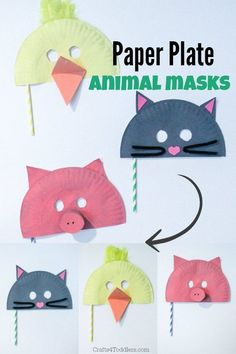 DIY Paper Plate Face Mask Crafts - diy Thought diy crafts with paper plates - Diy Paper Crafts Paper Plate Animal Masks, Animal Masks For Kids, Mask For Kids, Animals For Kids, Paper Plate Crafts, Paper Plates, Toddler Crafts, Preschool Crafts, Kids Crafts
