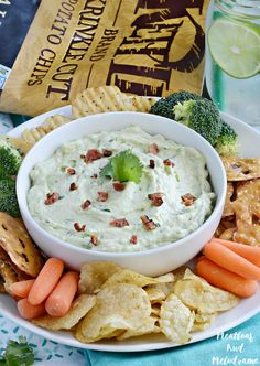 Spicy Avocado Bacon Ranch Dip is light, fresh and made with all natural ingredients, and it's the perfect complement to your favorite chips!
