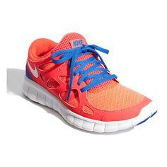 Nike 'Free Run 2+' Running Shoe (Women) Solar Red/White/ Treasure Blue 12 M ($90) found on Polyvore
