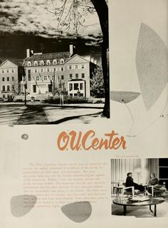 "Athena Yearbook, 1956. ""The Ohio University Center was for you an arena for discussion, for verbal settlement of problems of the world, for presentation of vital ideas and principles."" :: Ohio University Archives"