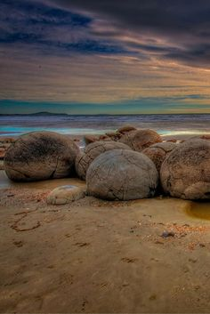 Sunrise on the The Moeraki Boulders on the Otago coast of New Zealand  | The Planet D Adventure Travel Blog: