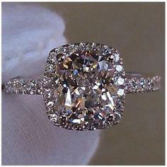 3 cttw 2 ct Center Cushion Cut NSCD SONA Diamond Engagement Wedding Ring Sizes 4.5 - 10