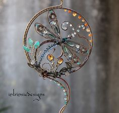 """DRAGONFLY SUNCATCHER with loads of by IntrinsicDesignsArt on Etsy 5"""" in diameter"""
