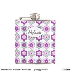Retro Bubble Flowers (Purple and Green) Personalized Hip Flask