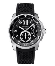 Cartier Calibre de Cartier Diver, relógio de mergulho em aço inoxidável, também disponível em ouro.