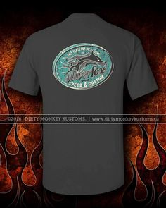 """Silver Fox Speed & Custom"" t shirt. Charcoal / Retro Teal"