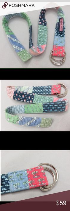 Vineyard Vines Patchwork Belt D ring ribbon belt in size large, really excellent used condition Vineyard Vines Accessories