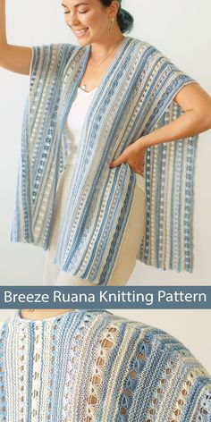 Knitting pattern for ruana style poncho features vertical stripes, lots of airy lace, comfortably shaped shoulders, and simple straight silhouette. Ruana can be worked in any number of colors and is perfect for using up leftover yarn or mini skeins. Fingering weight yarn. Designed by Ksenia Naidyon for Life Is Cozy.