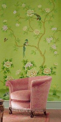 I can't decide if I love the chair the most or that lovely shade of green on the wall, or the nicely painted birds, or the flowers, or the daffodils.