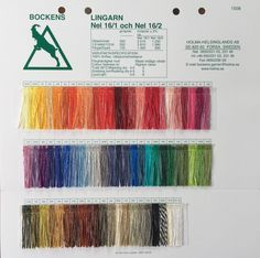 Bockens Lingarn Linen Yarn is a bleached and dyed eco-friendly line of linen yarns from Sweden available The Woolery. Yarn Thread, Color Card, Weaving, Textiles, Knitting, Cotton, Hemp, Spinning, Fiber