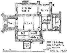Plan - PARISH CHURCH of ST. PETER ARDINGLY. The church occupies the site of a 12th-century church.The chancel, nave, and south aisle date chiefly from c. 1330, but the lower parts of the chancel walls may be earlier and the responds of the south arcade appear to contain 13th-century material. The west tower and south porch were added in the 15th century.