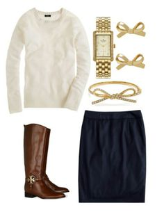 Creme sweater,  navy pencil skirt, brown riding boots and gold accessories