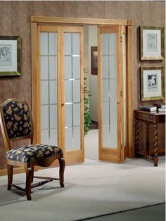 Bifold Door With Frosted Colonial Glass