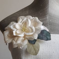 86eb6627948 Cream Silk WILD ROSE Millinery Flower handmade with vintage 1940s silk millinery  flower petals for Bridal Headpiece, Fascinator, Brooch Pin