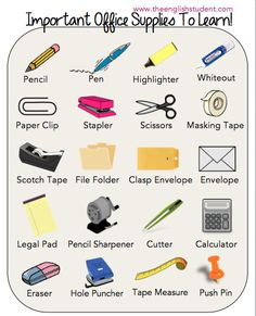 office supplies, ESL vocabularies, ESL, English vocabulary