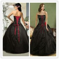 Cheap 2015 black and Red Gothic Ball Gown Front Vintage Quinceanera Dress Appliqué Prom Dress Sweep Strapless Lack up Wedding Dresses Party Gowns