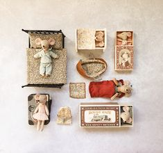 Whether your mice favours a vintage brass bed, a cradle, a sleeping bag or the classic matchbox, we have everything a mouse needs for a good night's sleep. Baby Mouse, Cute Mouse, Small World, Fabric Animals, Fabric Dolls, Rag Dolls, Metal Beds, Waldorf Dolls, Soft Dolls