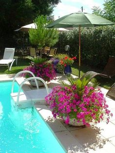pool landscaping great idea to put umbrellas in pots dreaming gardens - Pool Landscaping