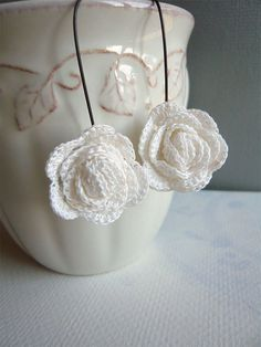 White Crocheted Rose Earrings Bridal Wedding