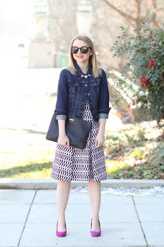 Jean Jacket Styling With a Printed Dress- I love this so much.