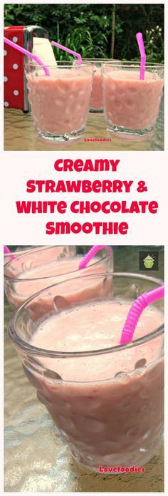 Easy Creamy Strawberry and White Chocolate Banana Smoothie. Tastes just like milkshake but without the cream or ice cream! Delicious!