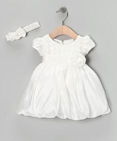 Take a look at this Shanil Ivory Rosette Bubble Dress & Headband - Infant & Toddler by Shanil on #zulily today!