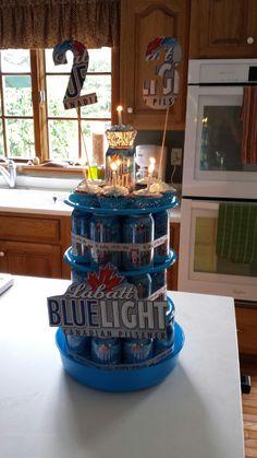 beer can cake for boyfriends 21st birthday easy DIY birthday