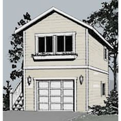 Garage Plans: One Car, Two Story Garage With Apartment, Outside Stair - Plan…