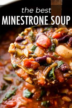 This thick and hearty minestrone soup satisfies! Full of healthy veggies and bursting with savory, comforting flavor.