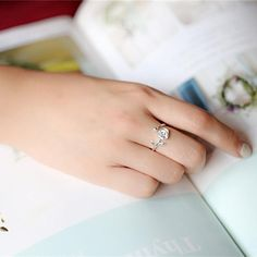 Trendy Open Finger Ring 925 Silver Rose leaves Plants Simple Adjustable Size Rings Jewelry for Women