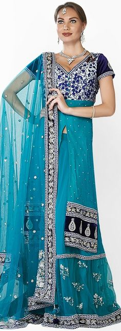 Designer's Stunning Royal Uttama Bhatt Exquisite Wedding Lehengas Blue Embroidered Suit Set http://www.firsturl.net/7hhpV3a