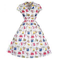 Emily Handbag Print Day Dress | Vintage Style Fashion - Lindy Bop