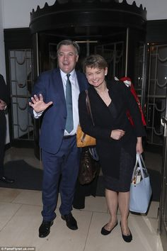 Party people:Ed Balls is still having the time of his life on the celebrity circuit, hitting the London Evening Standard Film Awards on Thursday night