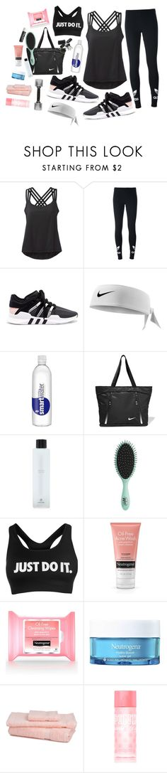 """""""blacked out like my workout sch."""" by mcadamsa on Polyvore featuring prAna, adidas Originals, NIKE, Forever 21, Topshop, Neutrogena, Chapstick, Victoria's Secret PINK and sotrue"""