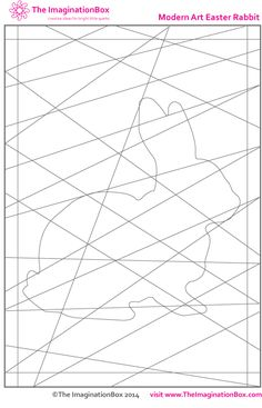 'Modern Art Hidden Rabbit' free printable coloring activity. Explore shape, and how colors contrast and interact with each other