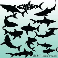 12 Shark Silhouette Digital Clipart Images by OMGDIGITALDESIGNS