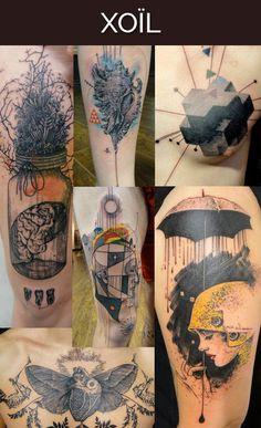 Der französische Tattoo-Künstler Loïc Lavenu, auch bekannt als Xoïl, hat eine sehr charakteristische Collagen-Ästhetik. Das Resultat ist immer surreal, ausufernd und sieht extrem experimentell aus. Hier findest Du eine Galerie seiner Tattoos.