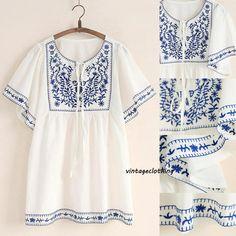 Vintage 70 s algodón blanco étnico flor bordada Boho Hippie campesino mexicano blusa suelta tapas grandes para mujer de la manga del Batwing de la camisa(China (Mainland))