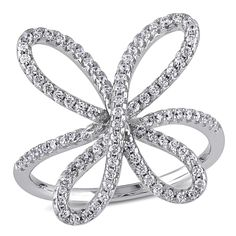 M by Miadora Sterling Silver Cubic Zirconia Flower Ring