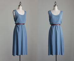 Blue Maxi Dress 1990s Vintage Simple Blue Gray Tunic Maxi Sun Dress